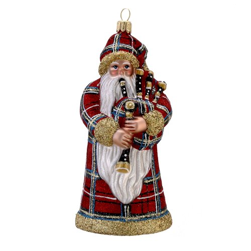 David Strand Kurt Adler Glass Highland Fling Santa Stewart Ornament, 6.1-Inch