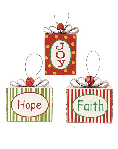 Blossom Bucket Ornaments Hope/Joy/Faith Packages Christmas Decor (Set of 3), 4″ High