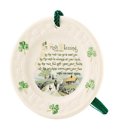 Belleek Irish Blessing Plate Porcelain Irish Christmas Ornament