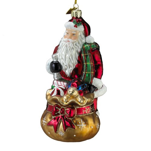 Noble Gems Glass Santa with Sack Ornament, 5.25-Inch
