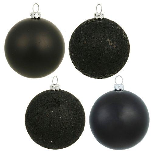 Vickerman 163184 – 1″ Black Shiny Matte Glitter Sequin Ball Christmas Tree Ornament (18 pack) (N590317)