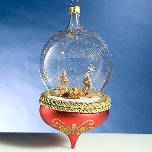 De Carlini Red Nativity Globe Italian Mouthblown Christmas Ornament