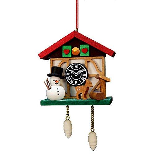 "10-0565 – Christian Ulbricht Ornament – Cuckoo Clock Snowman – 4.5″""H x 2.5″""W x 1.5″""D"