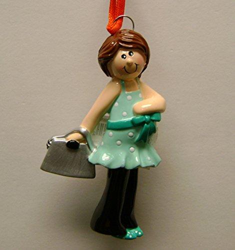 Pregnant Girl Brunette / Brown Hair Christmas Ornament