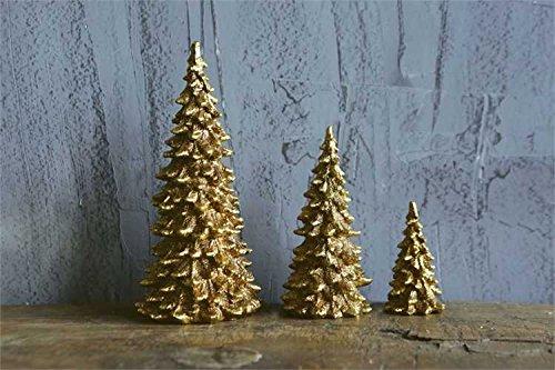 Gold Resin Christmas Tree Set of 3