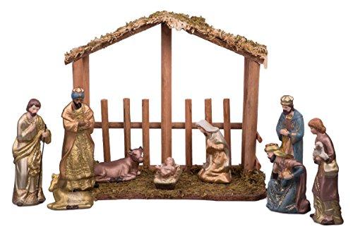 Large Christmas Nativity Set Featuring Joseph, Mary, Jesus, Wisemn, Shepherds, & Animals – 7″ – 9 Piece Scene with Creche