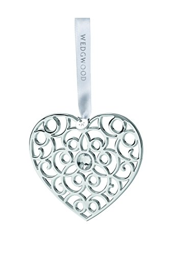 Wedgwood Filigree Heart Christmas Ornament, Silver