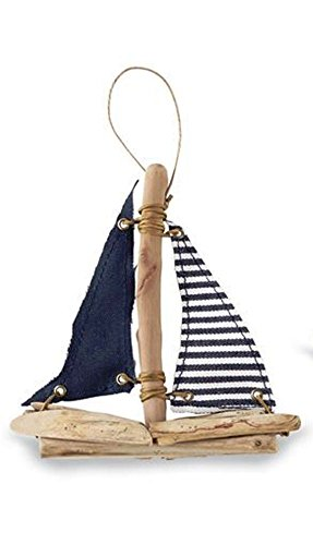 Mud Pie Sailboat Ornament, Choice of Style (Blue)
