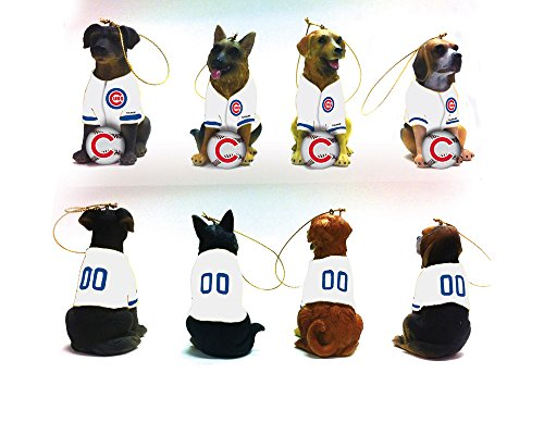 Team Dog Ornaments, 4 Assort., Chicago Cubs
