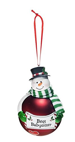 Ganz Christmas Merry Snowman Glass Ornaments Friendship & Fun & Sentiment Design (Best Babysitter (Red) EX27479)