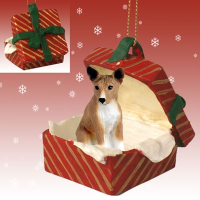 Conversation Concepts Basenji Gift Box Red Ornament