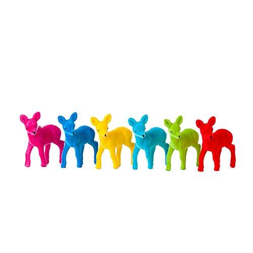 One Hundred 80 Degrees Colorful Flock Baby Deer Ornaments (Set/6)