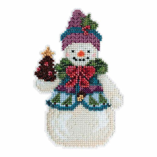Pinecone Snowman Beaded Counted Cross Stitch Kit Mill Hill 2015 Jim Shore Winter Series JS205102