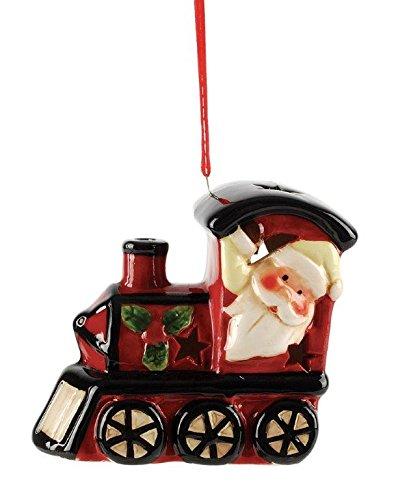 Blossom Bucket Santa LED Train Ornament Christmas Decor, 3-1/4″ High