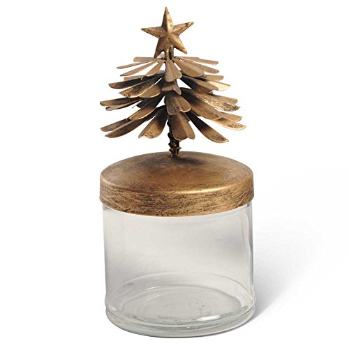 Glass Canister with Gold Metal Christmas Tree Lid Rustic Holiday Decor