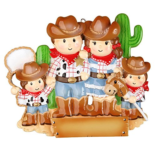 Cowboy Family with 2 Kid Personalized Christmas Tree Ornament