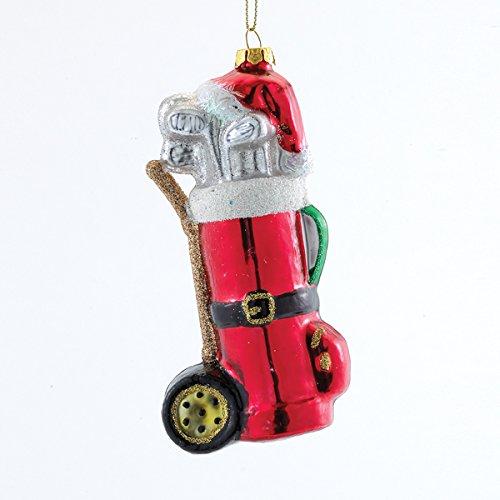 Golfer Santa Hat Golf Bag Christmas Holiday Glass Ornament Kurt Adler