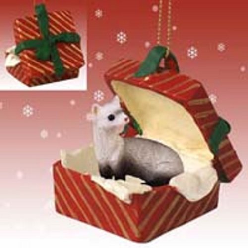 Conversation Concepts Ferret Gift Box Red Ornament