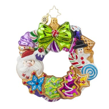 Christopher Radko Treats Wreath Gingerbread Glass Christmas Ornament