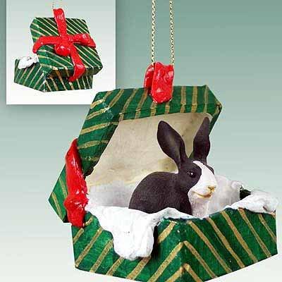Conversation Concepts Rabbit Black & White Gift Box Green Ornament