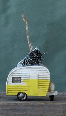 3.5″ Polyresin Camper with Christmas Tree Ornament- Yellow