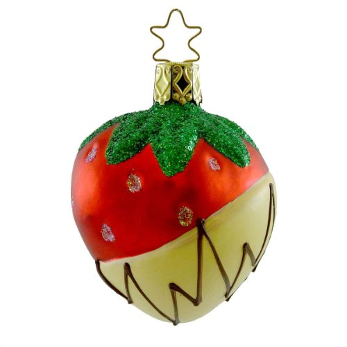 Inge Glas STRAWBERRY HEAVEN Blown Glass Ornament Fruit Chocolate 110508 WHITE