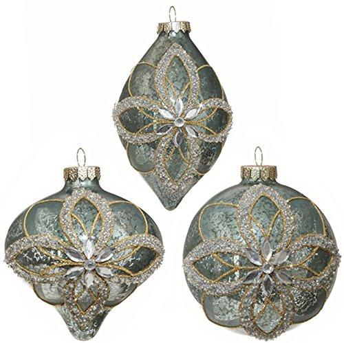 RAZ Imports – 4″ Antiqued Blue Flower Gem Christmas Tree Ornaments – Set of 3