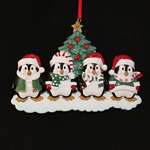 Personalized 4 Members Penguin Family Gift Expertly Handwritten Ornament