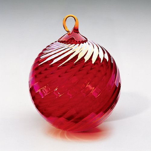 Glass Eye Studio Hand Blown Glass Ornament – Red Optic