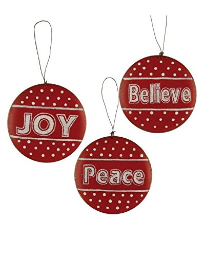 Blossom Bucket Believe/Joy/Peace Metal Bulb Ornaments Christmas Decor (Set of 3), 4-1/4″