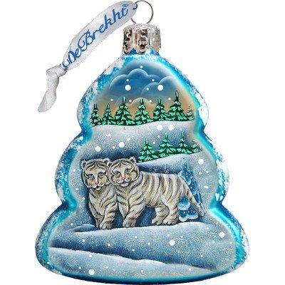 G. Debrekht Santa's Tiger Cubs Glass Ornament, White