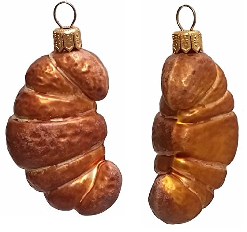 Croissant Pastry Polish Mouth Blown Glass Christmas Ornament Set of 2