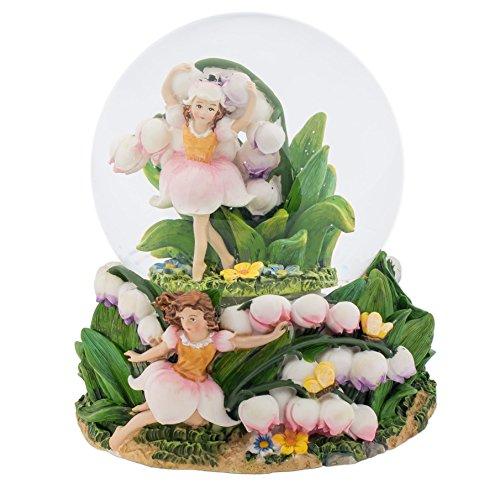 Fairies Dancing in Tulips 100MM Music Water Globe Plays Tune Dance of the Sugar Plum Fairy