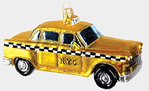 New York City Taxi Cab Polish Glass Christmas Ornament NYC Travel Decoration