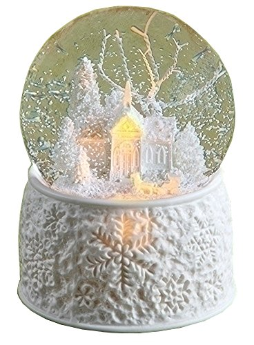 6″ LED Porcelain Church With Sleigh Dome Battery Operated Without Batteries 100M Plays First Noel