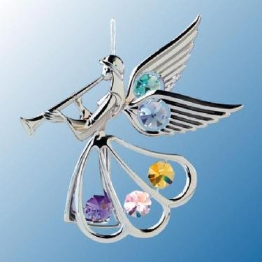 Chrome Angel with Trumpet Ornament – Multicolored Swarovski Crystal