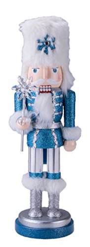 Prince Nutcracker Decoration Figure with Sceptor and Hat – 14″ White and Blue