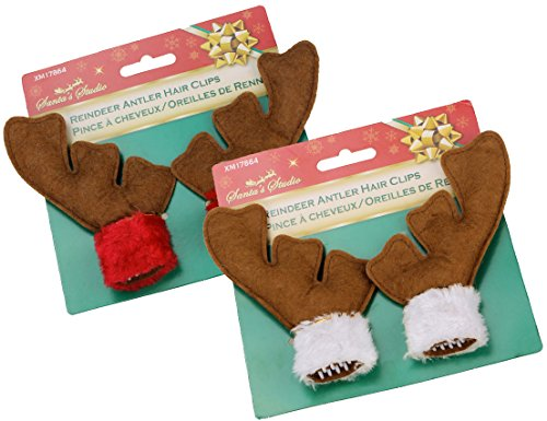 Christmas Reindeer Antler Hair Clips – 5″ T Brown Plush Package of 2 Pairs (Red & White)