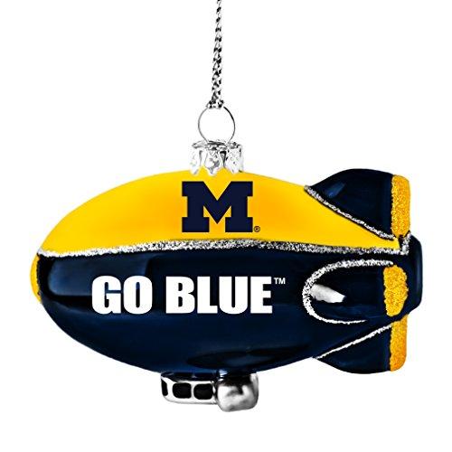 NCAA Michigan Wolverines Glitter Blimp Ornament, Silver, 3″ x 2.25″