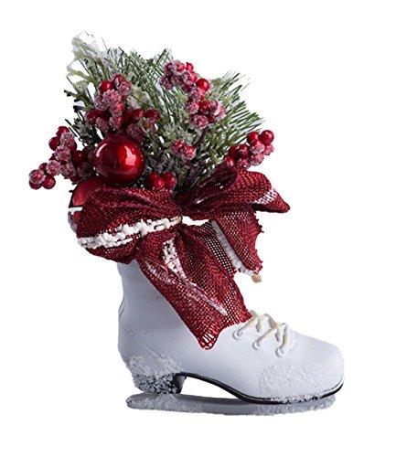 Christmas Ice Skate Christmas Tree Ornament with Jingle Bells, Holly, and Mistletoe