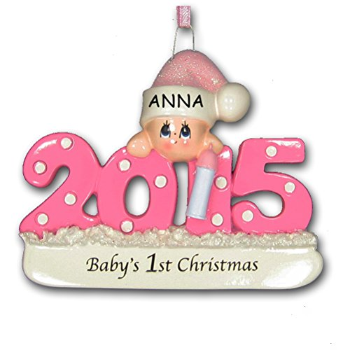 2015 Baby's First 1st Christmas Ornament in Pink for Baby Girl with Free Personalization (Pink)
