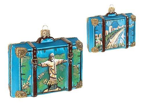 Brazil Travel Suitcase Polish Glass Christmas Ornament Brasil Tree Decoration