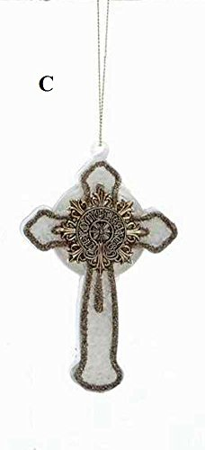 Creative Co-Op Twelve Days of Christmas Collection Glass Cross Ornament, Ivory With Silver Detail, Choice of Style (C)