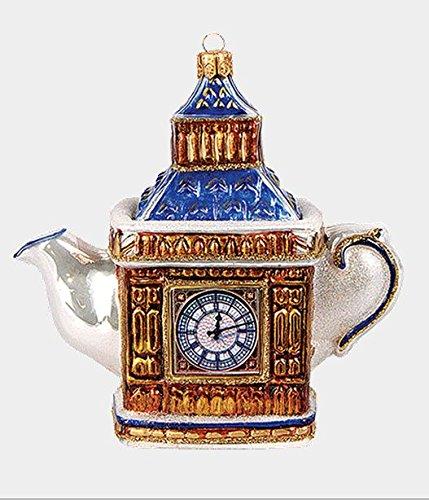 London England Big Ben Teapot Polish Glass Christmas Ornament Decoration