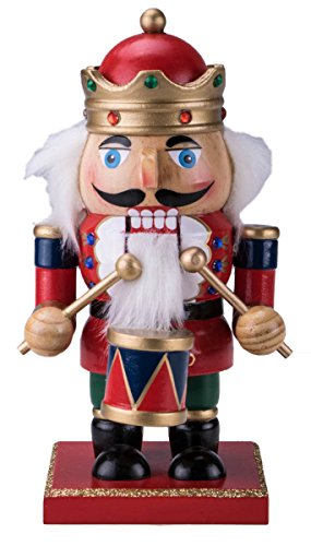 Chubby Drummer Nutcracker Decoration Figure – 7″ Red, Green, Gold, and Blue