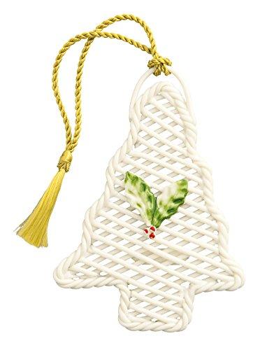 Belleek 4311 Basket Ornament Basket Christmas Tree Ornament, 3.9-Inch, Ivory