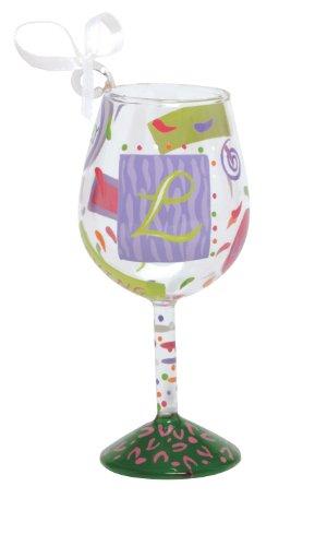 Lolita Hand Painted Mini Wine Ornament, Letter L