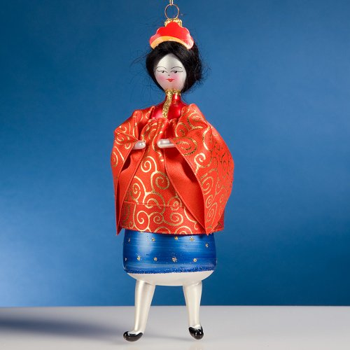De Carlini Japanese Lady in Red Italian Mouthblown Glass Christmnas Ornament