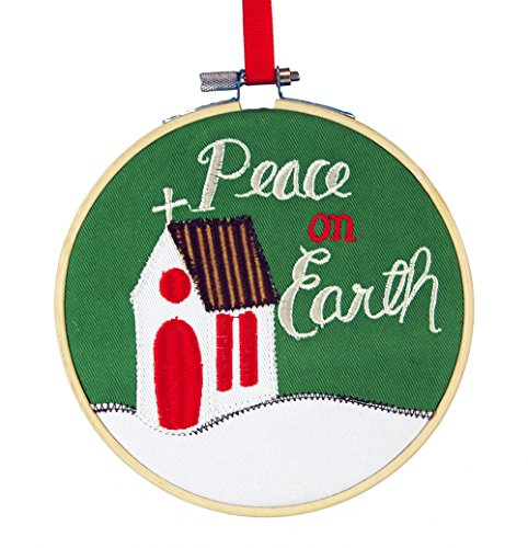Peace on Earth Church Embroidered Fabric Hanging Christmas Tree Ornament