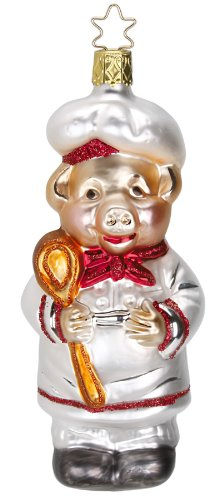 Chef Pig Christmas Ornament by Inge-Glas of Germany 113613